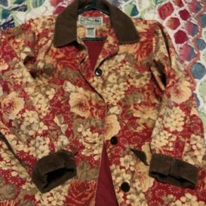 L L Bean Red and Tan Floral Coat
